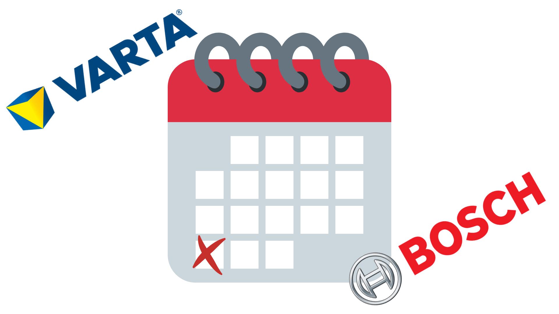 Tabulka pro zjištění data výroby autobaterie Varta-Bosch