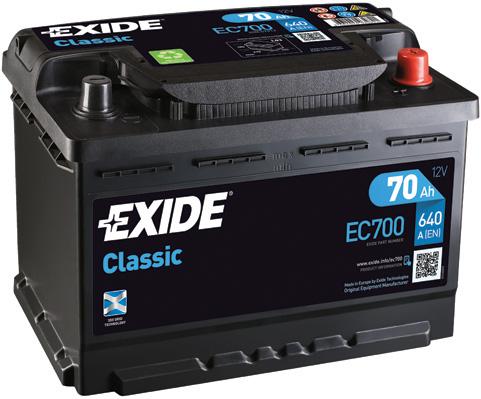 Exide Classic 12V 70Ah 640A EC700 (Autobaterie EXIDE Classic)